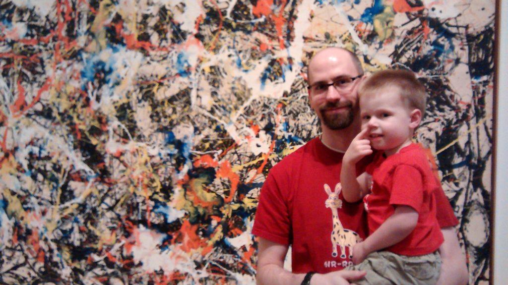 My son with Jackson Pollack
